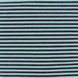 Tissu jersey viscose Rayures - azur/noir x 10cm