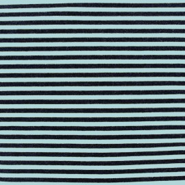 Viscose jersey fabric Rayures - azure/black x 10cm
