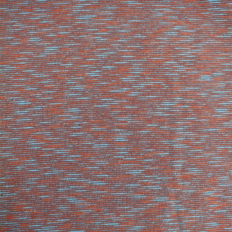 Quilted sweat fabric Elgin - sky/brick x 10cm