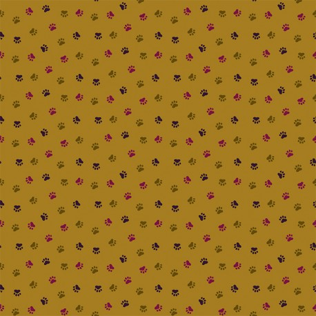 Dashwood cotton fabric Serengeti - Olive paw print x 10cm