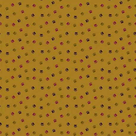 Tissu coton Dashwood Serengeti - Olive paw print x 10cm