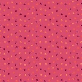 Tissu coton Dashwood Serengeti - Pink paw print x 10cm