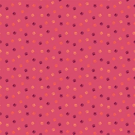 Dashwood cotton fabric Serengeti - Pink paw print x 10cm