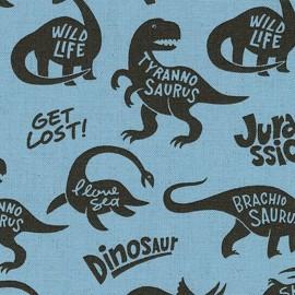 Tissu enduit de coton Kokka Dinosaur - bleu x 16 cm