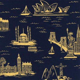 Cotton fabric Cotton Steel Rifle Paper Co. World travel - night blue  x 30cm