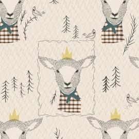 Tissu Coton AGF Sir Wooly - blanc x 19cm