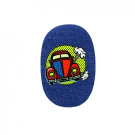 Comic Strip elbow-and-knee iron-on patch - wow