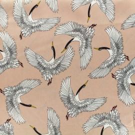 Satin Fabric Magical birds - pink x 10cm