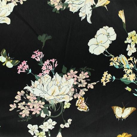 Tissu satin Butterflies and flowers - noir x 10cm