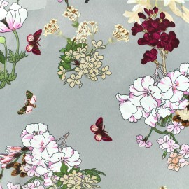 Satin Fabric Butterflies and flowers - pearly grey x 10cm