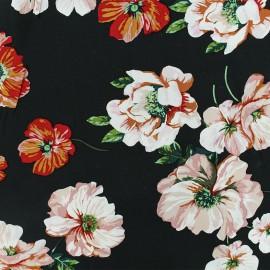 Tissu viscose Lovely Blossom - noir x 10cm
