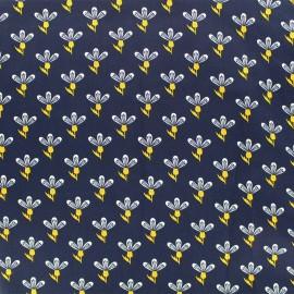 Satin Fabric Little flower by Penelope® - navy x 10cm