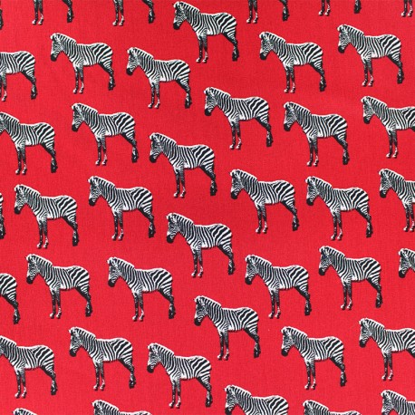 Poppy cotton fabric Zebralicious - red x 10cm