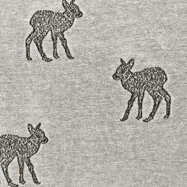 Tissu Jersey jacquard Faon - gris x 31cm