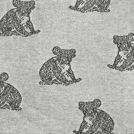 Tissu Jersey jacquard Koala - gris x 17cm