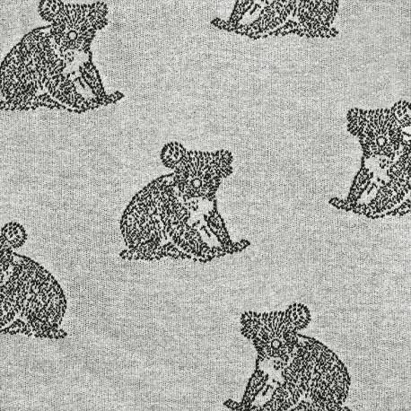 Jersey jacquard fabric Koala - grey x 17cm