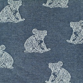 Tissu Jersey jacquard Koala - bleu denim x 17cm