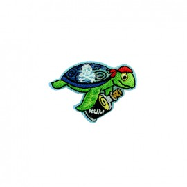 Pirate party iron on patch - tortoise