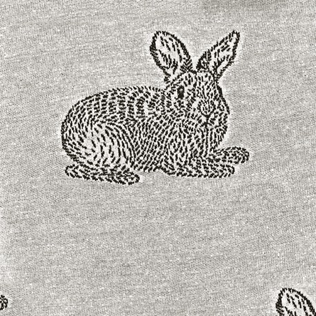 Tissu Jersey jacquard Lapin - gris x 40cm