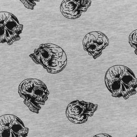 Tissu Oeko-Tex Poppy Jersey Bad bones - gris x 15cm