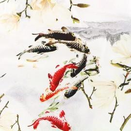 Tissu Gabardine satin Carpe koï - blanc x 58cm
