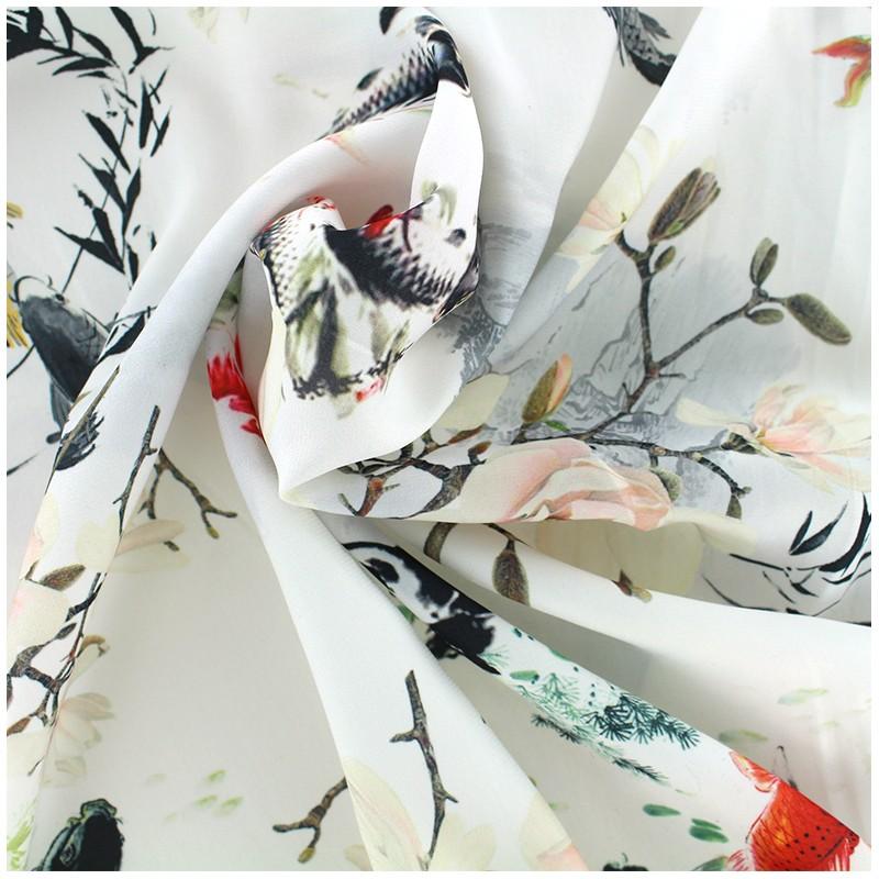 Tissu mousseline satin e carpe ko blanc x 60cm ma for Livre carpe koi