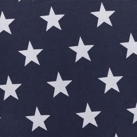 ♥ Coupon 160 cm X 140 cm ♥ Tissu Jersey aspect jeans élasthanne Stars - bleu nuit