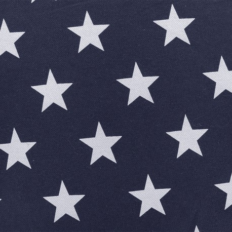 Elastic jeans fabric Stars - night blue x 10cm