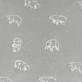 Poppy Oeko-Tex Light sweat fabric Playing in the snow - gris x 10cm