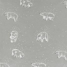 Tissu Oeko-Tex sweat léger Poppy Playing in the snow - gris x 10cm