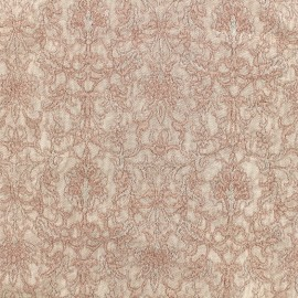 Royal damask fabric - old pink x 10cm