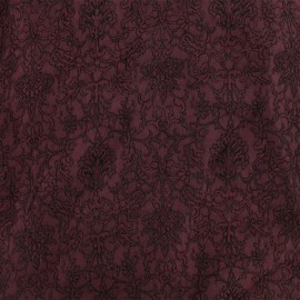 Royal damask fabric - lie de vin x 10cm