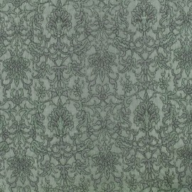Royal damask fabric - green grey x 10cm