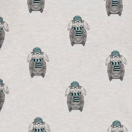Tissu Oeko-Tex sweat léger Lapin - bleu/gris clair x 20cm