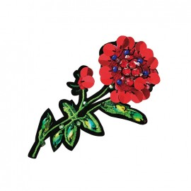 Joli ornement iron on patch - red flower