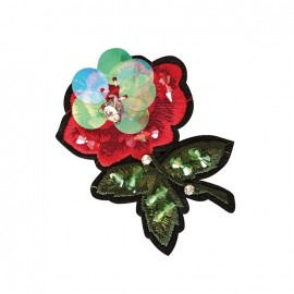 Joli ornement iron on patch - little red flower