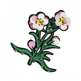 Joli ornement iron on patch - pink flower
