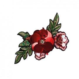 Joli ornement iron on patch - big red flower
