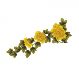 Thermocollant brodé Elegante nature - rosier jaune
