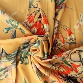 Tissu Satin Duchesse Flower - miel x 10cm