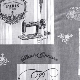 Bachette cotton fabric Couture - anthracite/white x 64cm