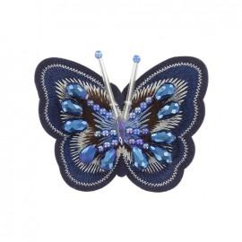Joli ornement iron on patch - blue butterfly