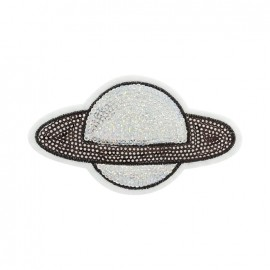 Saturne sequin iron on patch - silver