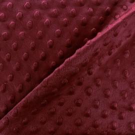 Tissu Velours minkee doux relief à pois - lie de vin x 10cm