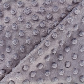 Tissu Velours minkee doux relief à pois - gris glycine x 10cm