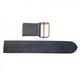 Leather strap with sliding bar adjuster, End - blue