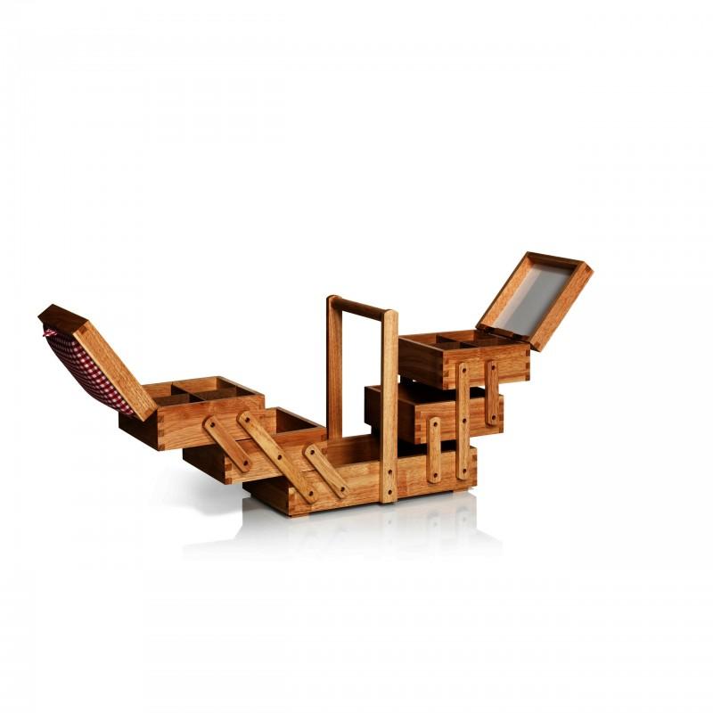 travailleuse en bois fonc avec tissu prym m ma petite mercerie. Black Bedroom Furniture Sets. Home Design Ideas