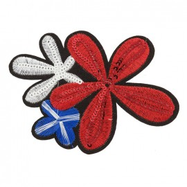 Plumeria iron on patch - red