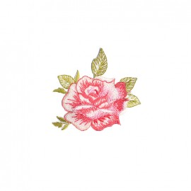 Infusion florale embroidered iron on patch - rose