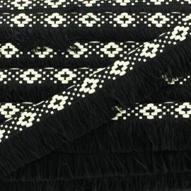Ruban galon franges Bohème 30mm - noir x 1m